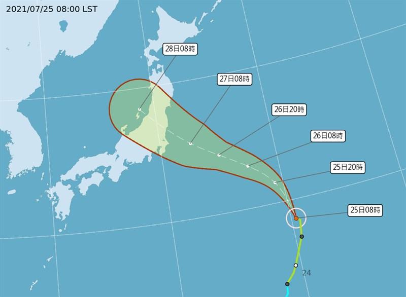 颱風尼伯特27、28日可能穿越日本本州島,東京奧運部分賽事恐受影響。(圖取自氣象局網頁cwb.gov.tw)