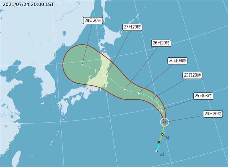 今年第8號颱風尼伯特24日生成,有可能登陸日本本州島直撲東京;為此,東京奧運26日划船賽事全數提前到25日舉行。(圖取自中央氣象局網頁cwb.gov.tw)