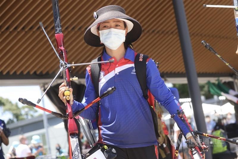 東京奧運戶外場地賽事也受到影響,射箭項目因應颱風更改賽程,台灣女將譚雅婷27日個人對抗賽首役恐得在風雨中應戰。。中央社記者吳家昇攝 110年7月23日