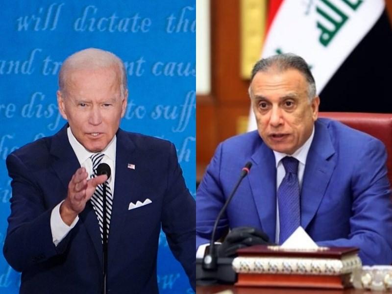 美國總統拜登(左)與伊拉克總理哈德米(右)預計於26日稍晚達成協議,同意年底前正式中止美軍在伊長達18年的作戰任務。(左圖取自facebook.com/joebiden,右圖取自facebook.com/MAKadhimi1)
