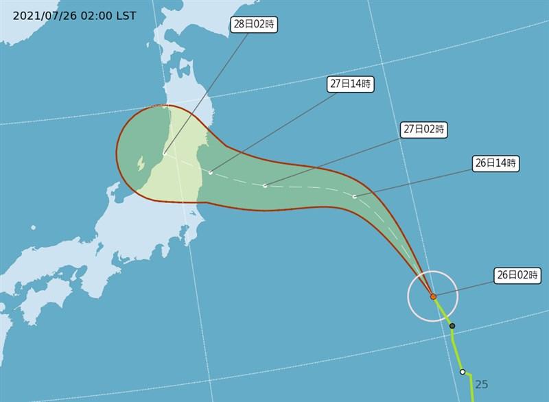 氣象專家吳德榮說,颱風尼伯特續往日本本州移動,但強度不強,估對東京奧運僅帶來些微天氣變化。(圖取自氣象局網頁cwb.gov.tw)