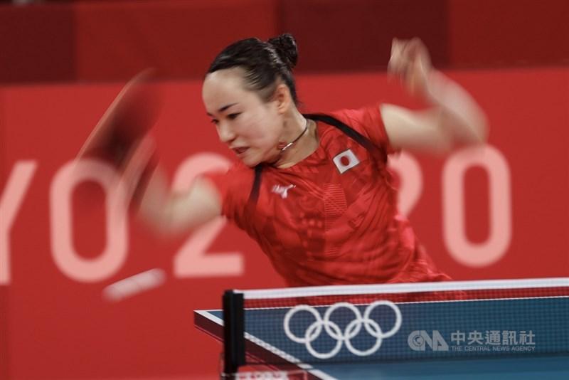日本桌球好手伊藤美誠28日在東奧桌球女單8強出戰,以直落四擊敗對手,晉級4強。中央社記者吳家昇攝 110年7月28日
