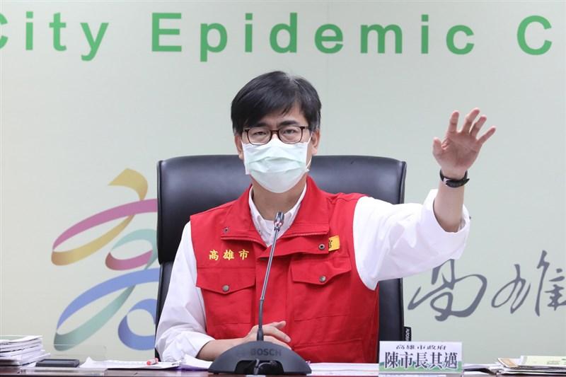 高雄市長陳其邁27日表示,高雄疫苗覆蓋率已達30%,戴口罩可讓防疫效果加乘。(高雄市政府提供)