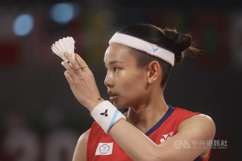 2020東京奧運羽球女單28日上午進行小組賽最後一役,世界球后戴資穎(圖)直落二擊敗法國籍中國選手齊雪霏,以分組第1提前晉級東奧女單8強;她表示不管接下來對手是誰都一樣,關鍵是要減少自己失誤。中央社記者吳家昇攝 110年7月28日