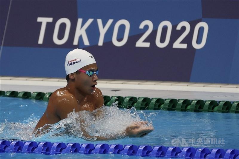 台灣泳將王星皓28日在東京奧運男子200公尺混合式以預賽總排名第37作收,無緣準決賽。圖為22日他進入比賽場地做賽前衝刺訓練。中央社記者吳家昇攝 110年7月22日