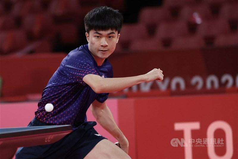 東京奧運桌球男單8強賽28日下午登場,台灣桌球好手林昀儒以直落4擊敗斯洛維尼亞選手,闖進4強賽,距離獎牌僅一步之遙。中央社記者吳家昇攝 110年7月28日