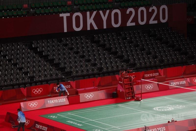 無觀眾的東京奧運武藏野之森綜合體育廣場,場次間定時消毒。中央社記者吳家昇攝 110年7月28日