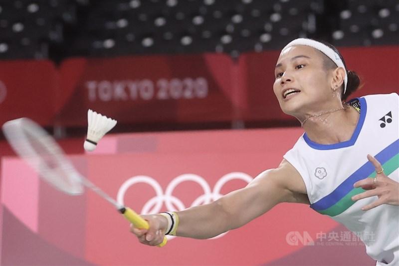 東京奧運羽球女子單打8強戰,台灣好手戴資穎(圖)30日遭遇泰國強敵拉差諾(Ratchanok Intanon),終場以2比1奪勝,確定晉級4強。中央社記者吳家昇攝 110年7月30日
