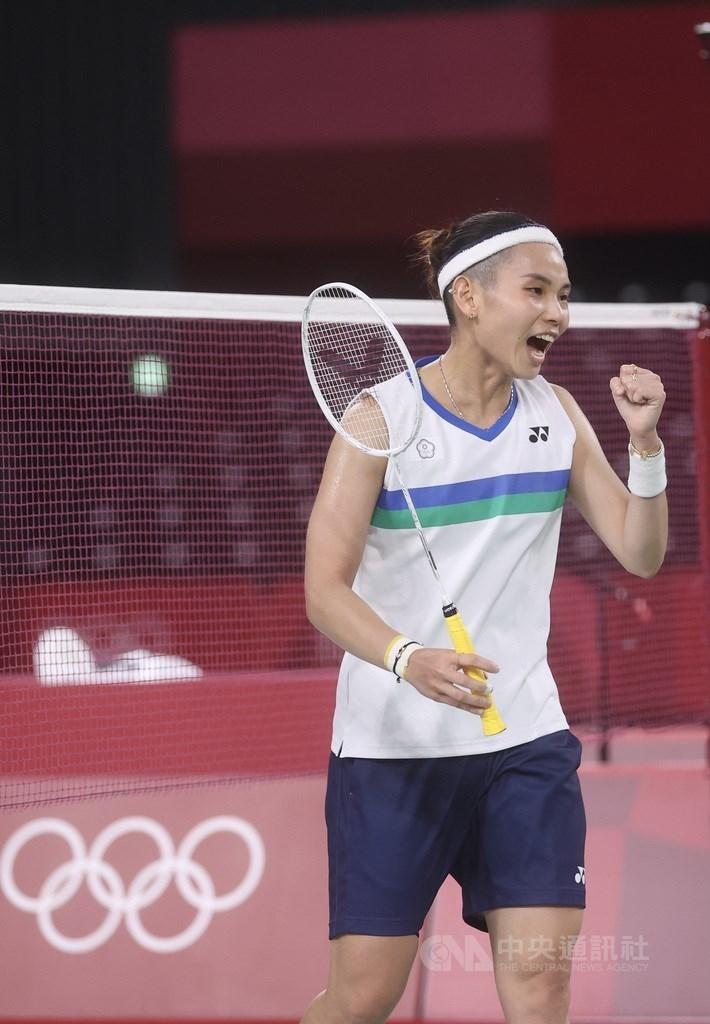 世界羽球球后戴資穎(圖)30日在東京奧運羽球女單8強賽遭遇泰國好手拉差諾,戰況一度膠著,雙方激戰到最後一局,由戴資穎拿下關鍵勝利,挺進4強。中央社記者吳家昇攝 110年7月30日