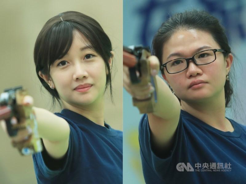 東奧射擊項目女子25公尺手槍,台灣好手吳佳穎(左)及田家榛(右)30日雙雙擠進前8名、晉級下午的決賽。(中央社檔案照片)