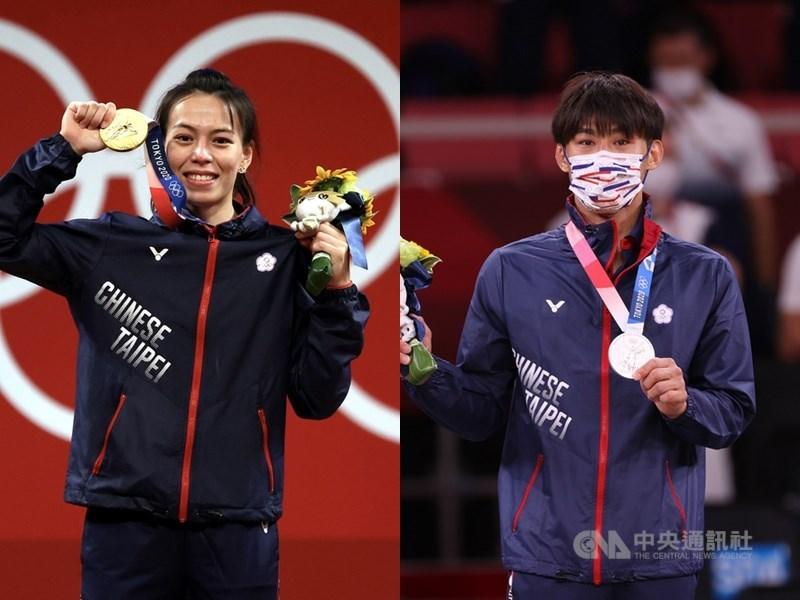 郭婞淳(左)、楊勇緯(右)等台灣選手在東奧賽場上的奪牌英姿有目共睹,而他們背後不乏許多國內企業贊助支持,陪伴選手們走過無人問津的辛苦訓練時期。(中央社檔案照片)