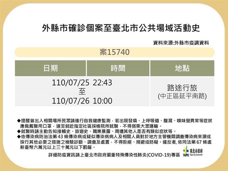 台北市衛生局30日公布一名新北市確診者在台北市的足跡。(台北市政府提供)
