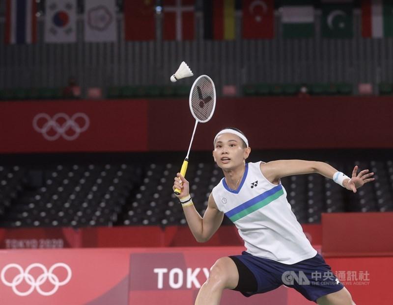 世界羽球球后戴資穎(圖)30日在東京奧運羽球女單8強賽中,以2比1擊敗泰國好手拉差諾闖進4強,成為台灣首位闖進奧運羽球女單4強的球員。中央社記者吳家昇攝 110年7月30日