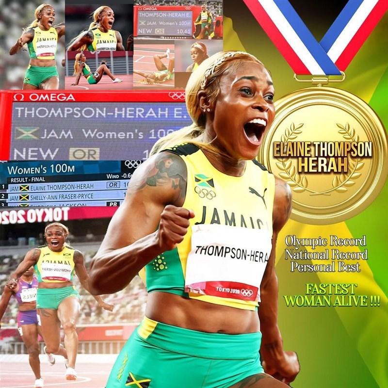 東京奧運女子100公尺決賽31日由上屆奧運金牌得主牙買加的湯普森-赫拉創下10秒61的新奧運紀錄,衛冕成功。(圖取自instagram.com/fastelaine)