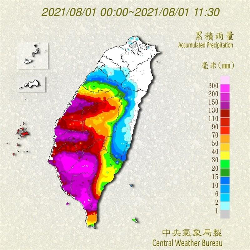 受西南氣流影響,7月31日起中南部出現明顯降雨,主要降雨都在台中以南地區,其中高雄御油山、屏東大漢山是目前累積雨量最多的地方。(圖取自氣象局網頁cwb.gov.tw)
