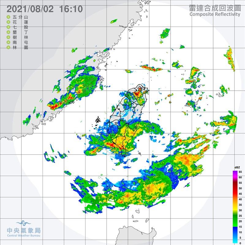 氣象局預報員謝佩芸表示,對流慢慢的往南移動,2日下半天到3日,高屏地區要留意會有比較強的降雨出現。(圖取自氣象局網頁cwb.gov.tw)