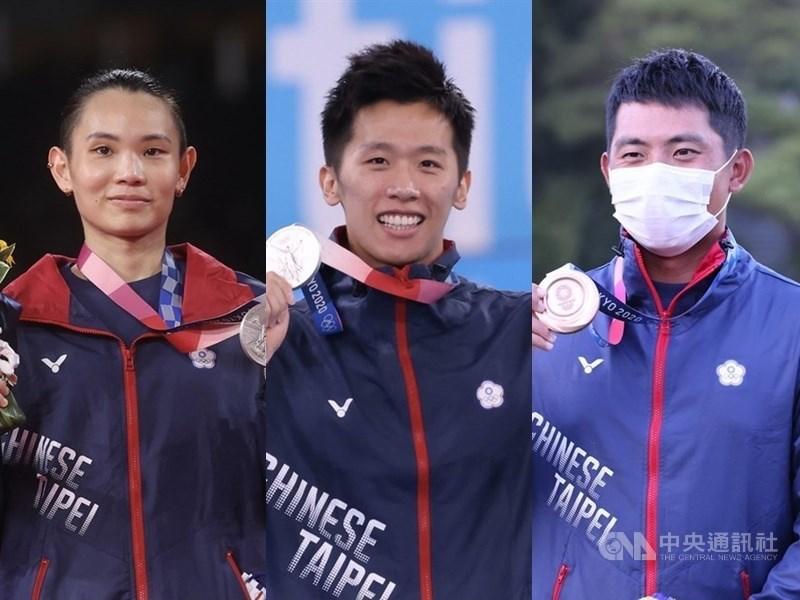 台灣在東京奧運獎牌豐收,1日再拿下2銀1銅,戴資穎(左)贏得羽球女單銀牌,李智凱鞍馬項目也奪得銀牌,潘政琮(右)拿下高球銅牌,這是台灣選手首次在這些項目進入前3名,也為台灣在單屆奧運獲得的獎牌數寫下新高紀錄。(左圖及中圖為中央社檔案照片、右圖體育署提供)