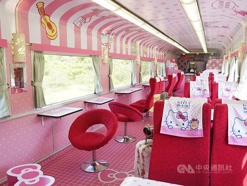 國內COVID-19疫情趨緩,防疫警戒降為2級,台鐵「環島之星Hello Kitty繽紛列車」將在8月10日復駛,配合防疫規定車上不開放飲食。(易遊網提供)中央社記者余曉涵傳真  110年8月3日