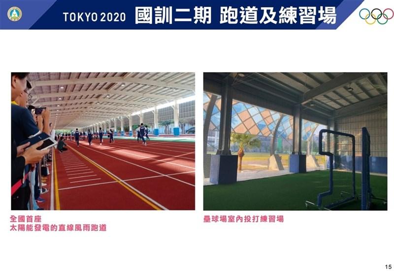 國訓中心二期翻修計畫,啟動全國首座太陽能發電的直線風雨跑道,並有壘球場室內投打練習場。(行政院提供)中央社記者賴于榛傳真 110年8月3日