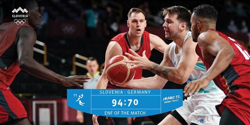 斯洛維尼亞3日以94比70擊敗德國,闖進東京奧運男子籃球賽4強。(圖取自twitter.com/TeamSlovenia)