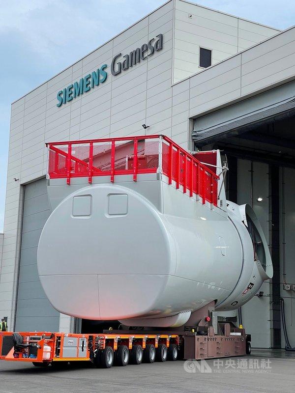 西門子歌美颯台中機艙組裝正式投入生產,為亞洲第1、歐洲以外唯一的離岸風機機艙組裝廠。(西門子歌美颯提供)中央社記者曾智怡傳真  110年8月3日