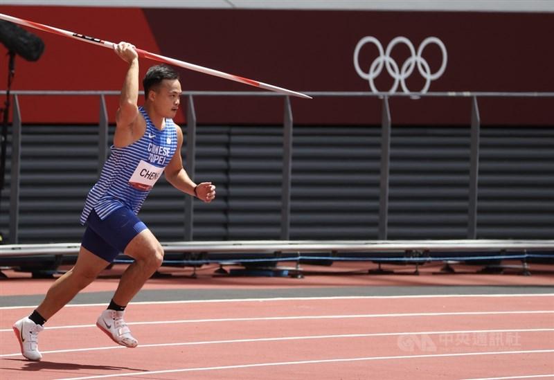 台灣「黃金右臂」鄭兆村4日在東京奧運田徑標槍資格賽B組出賽,以71公尺20、名列分組15,未能取得決賽門票。中央社記者吳家昇攝 110年8月4日
