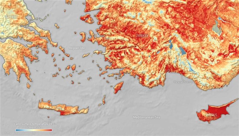 歐洲太空總署3日表示,土耳其和賽普勒斯遭熱浪襲擊,已導致地表溫度本月第2次超過攝氏50度。(圖取自歐洲太空總署網頁esa.int)