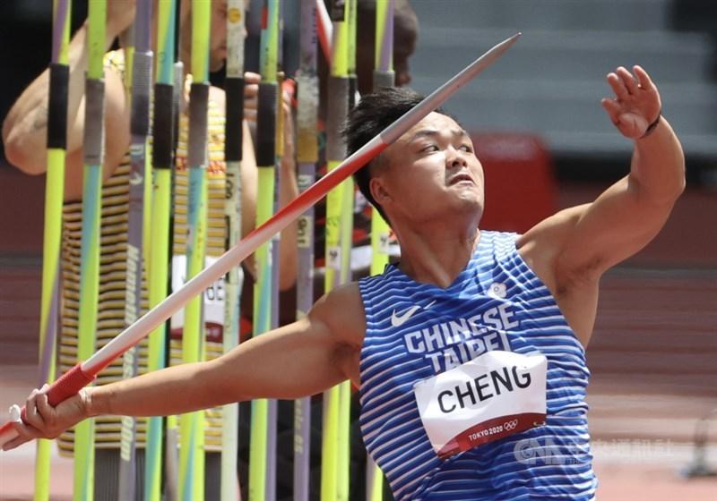 台灣「黃金右臂」鄭兆村4日在東京奧運田徑標槍資格賽B組出賽,最佳成績71.20公尺,未達晉級門檻,分組排名第15。中央社記者吳家昇攝 110年8月4日