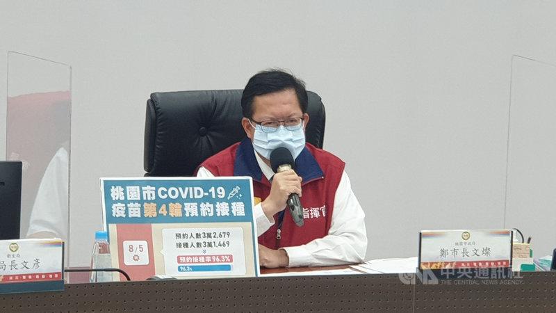 桃園市長鄭文燦表示,桃園市COVID-19疫苗第4輪預約接種在6日結束後,桃園的劑次人口比會超過39%。(桃園市政府提供)中央社記者葉臻傳真 110年8月5日