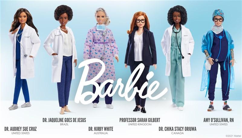 美泰兒公司生產的「榜樣」芭比,選出對抗COVID-19有功的6位女士,其中一位就是共同研發出AZ疫苗的吉伯特(右3)。(圖取自美泰兒網頁corporate.mattel.com)