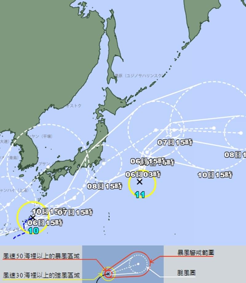 位於沖繩縣那霸市東北方約120公里處的熱帶低氣壓,已在5日下午3時形成第10號颱風銀河,料8日接近日本;位於日本東方海域的第11號颱風妮妲也同時成形。(圖取自日本氣象廳網頁jma.go.jp)
