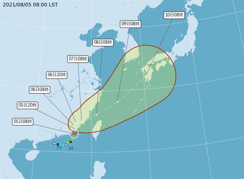 中央氣象局表示,5日受颱風外圍環流影響,易有短延時強降雨,中南部地區可能會有局部大雨或豪雨發生。(圖取自氣象局網頁cwb.gov.tw)