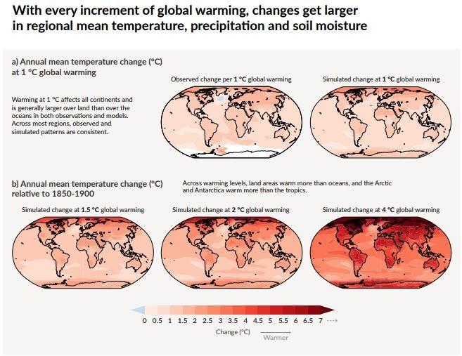 氣候暖化具區域差異,部分地區暖化速度更勝其他地方。(圖取自IPCC網頁www.ipcc.ch)