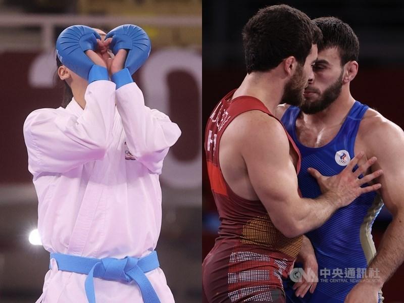 東京奧運圓滿落幕,選手們在場上的精采表現讓人回味無窮。左圖為台灣空手道好手文姿云雙手剛好畫出一顆愛心;右圖為角力選手近身肉搏。中央社記者吳家昇攝