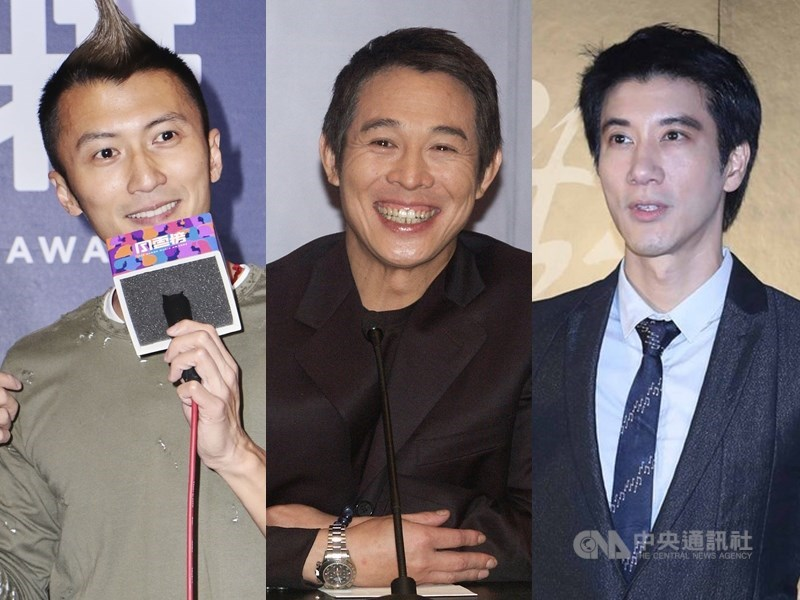 中國網路盛傳下一波將封殺的藝人名單,其中包括謝霆鋒(左)、李連杰(中)、王力宏(右)等。(中央社檔案照片)