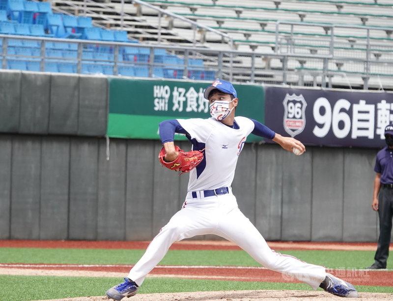 U18世界盃棒球賽冠軍班底、左投林昱珉(圖)被選入U23世界盃棒球賽代表隊,此次定位先發,林昱珉也是國外球探鎖定的目標。中央社記者謝靜雯攝  110年9月13日