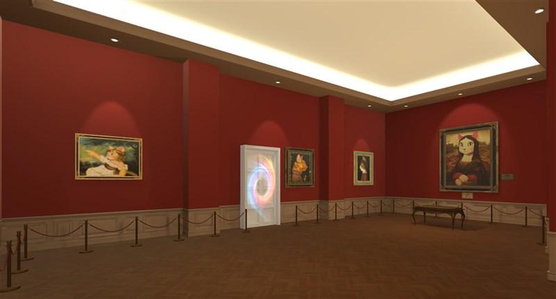 宏達電(2498)以虛擬實境技術(VR)打造的Step into Cat Art「走進喵次元」線上展,「古典肖像貓」以褚紅牆面配上柔和聚光燈,沉穩的空間氛圍,讓觀展者彷彿走進殿堂級美術館中。(HTC提供)中央社記者江明晏傳真 110年9月13日