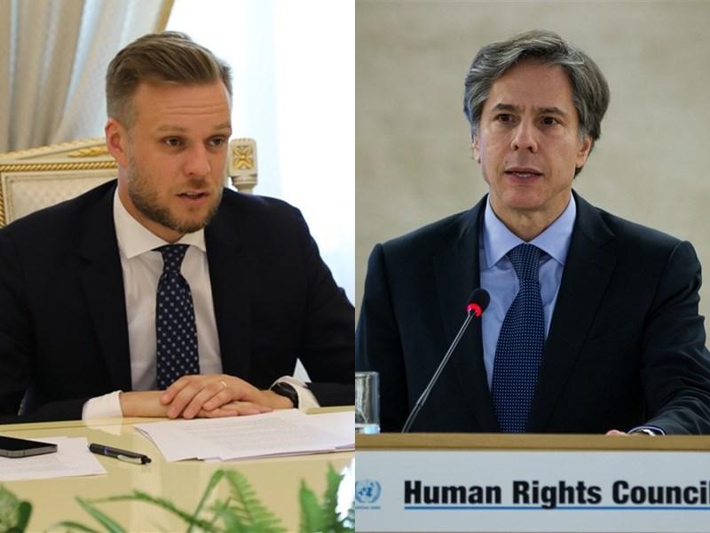 立陶宛外交部長藍斯柏吉斯(左)13日將會晤美國國務卿布林肯(右)。(左圖取自twitter.com/LithuaniaMFA,右圖取自twitter.com/ABlinken)