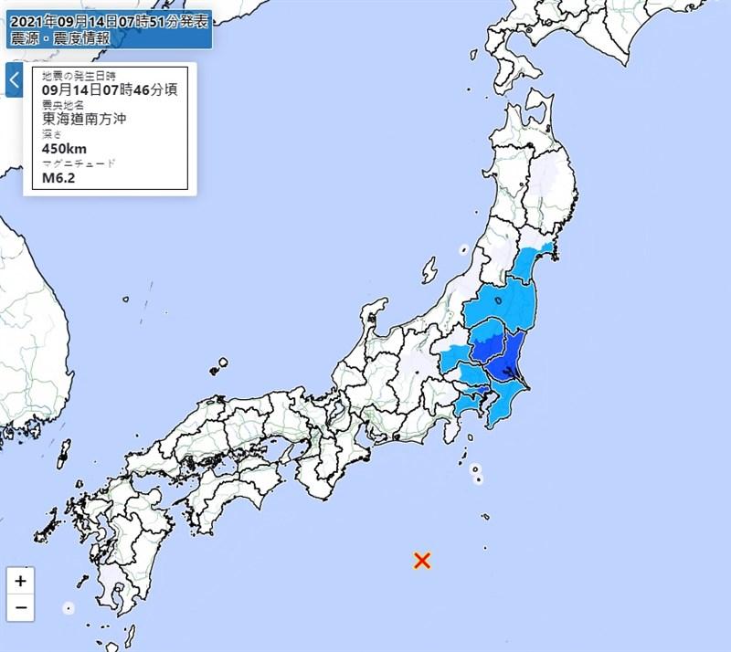 日本東海道南方外海(紅標處)14日上午發生規模6.2地震。(圖取自日本氣象廳網頁jma.go.jp)