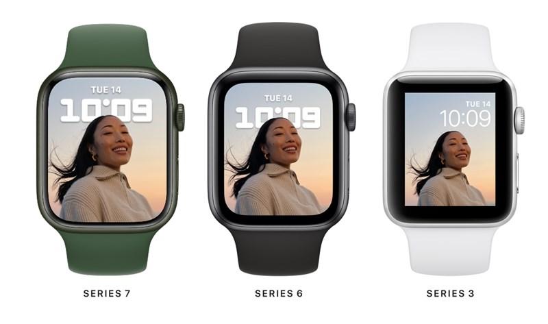 Apple Watch Series 7,採用更窄邊框,放大可用螢幕區域。(圖取自蘋果官方網頁apple.com)