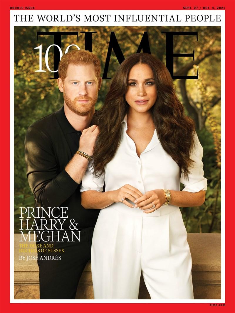 「時代雜誌」2021年百大最具影響力人物名單揭曉,英國哈利王子與妻子梅根入選。(圖取自facebook.com/time)