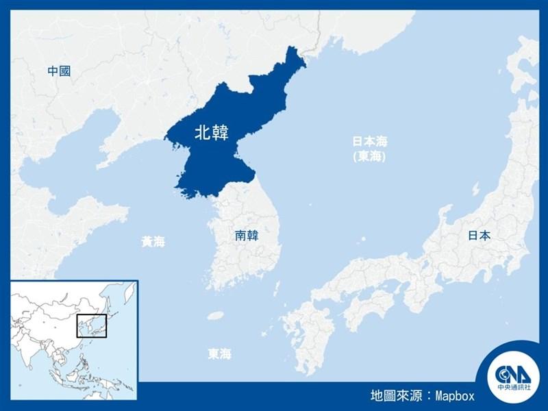 北韓15日中午過後,發射了至少兩枚彈道飛彈,日本官方表示,推定飛彈落點是在日本專屬經濟區內側的日本海。(中央社製圖)