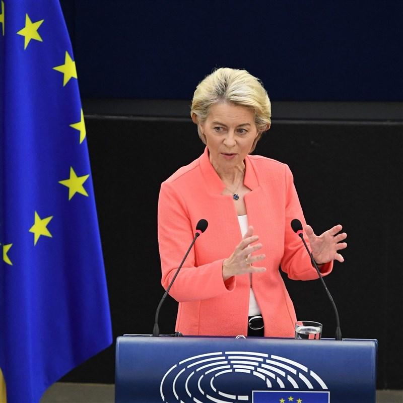 歐盟執委會主席范德賴恩15日宣布將推動「全球門戶」計劃及對強迫勞動產品實施進口禁令,被視為抗衡中國「一帶一路」倡議。(圖取自twitter.com/vonderleyen)