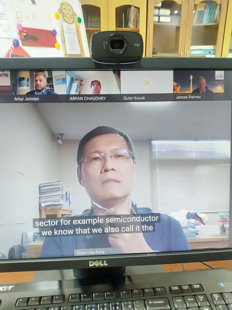 國家太空中心(NSPO)福衛三號總計畫主持人方振洲代表台灣出席印度太空會議暨博覽會15日場次的視訊會議。(駐印度代表處科技組提供)中央社記者林行健新德里傳真 110年9月15日