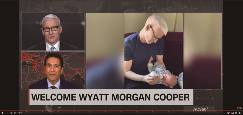 CNN公開出櫃的新聞主播古柏(左上及右抱嬰者)今年4月在螢幕前對觀眾宣布他透過代孕成為父親。(擷自CNN YouTube)