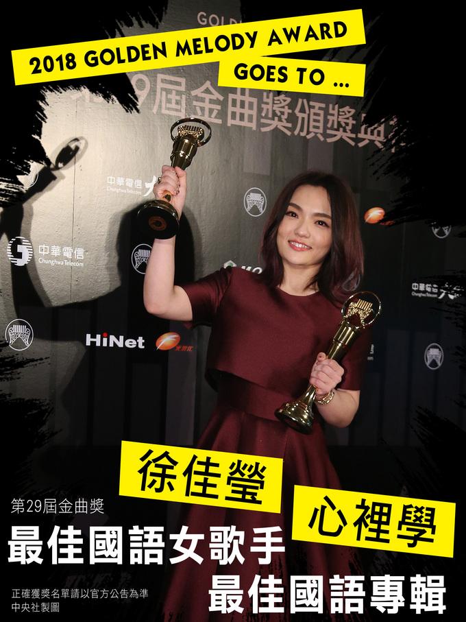 第29屆金曲獎頒獎典禮23日晚間在台北小巨蛋完美劃下句點,歌手徐佳瑩以專輯「心裡學」一舉封后,並奪得最佳國語專輯獎。中央社製表 107年6月24日