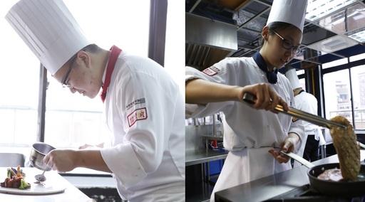 初次參賽便一舉奪金,賽前練習則可看見陳維(左)為了比賽所付出的努力;獲得雙銀的杜宜芳(右)認為挑戰國際賽事,可增進自己的廚藝實力。