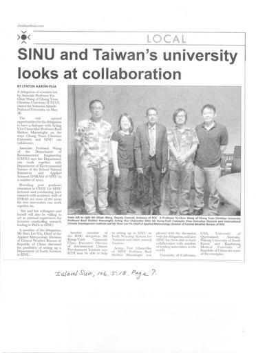 「島嶼太陽報」(Islands Sun) 於5月18日報導中原大學王玉純(Yu-chun Wang)副教授與中央氣象局訪問團拜會SINU大學
