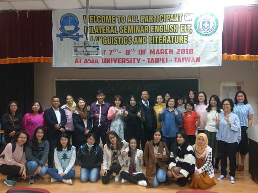 外文系主任陳淑娟(後排中)、吳文琪特聘教授(後排左七)與兩校參與「英語教學、語言學及文學」專題研討會師生合影。