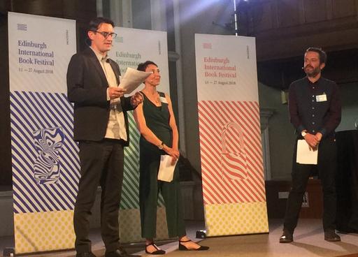 愛丁堡圖書節總監Nick Barley(左)、副總監Roland Gulliver(右)及青少年兒童節目總監Janet Smyth(中)於英國當地時間7日晚間公布今年愛丁堡國際圖書節獲邀作家及節目